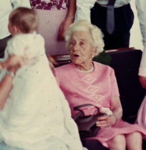 close up of Oma at the christening